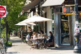 Coveted outdoor seating at Five Leaves