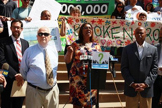 Public Advocate Letitia James demanding that the North Brooklyn community get their park