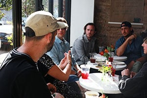 From left: Askew, Vexta, FAILE, Mark MacInnis, Stephen Donofrio talking art and climate change