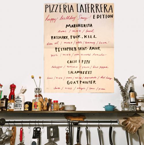 One of the menus at Pizzeria La Ferrera
