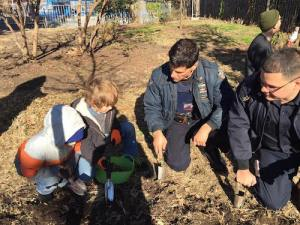 Officers helped plant daffodils in Transmitter Park in November. Via Facebook