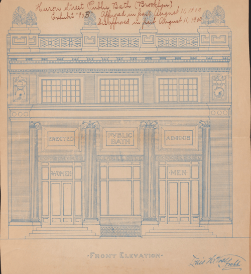 Original sketch of the Huron Street public bath. (Image via Public Design Commission of the City of New York, on Flickr)