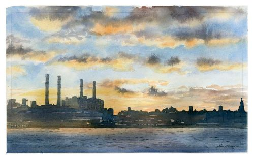 Watercolor of the East River by Sven Johnson