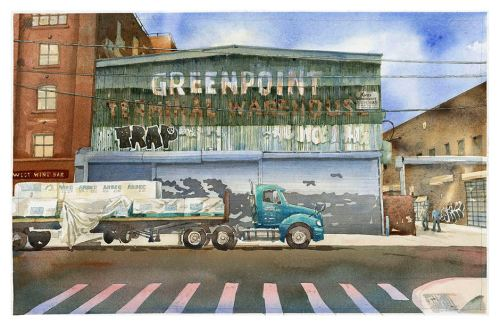 Greenpoint Terminal Warehouse, watercolor by Sven Johnson