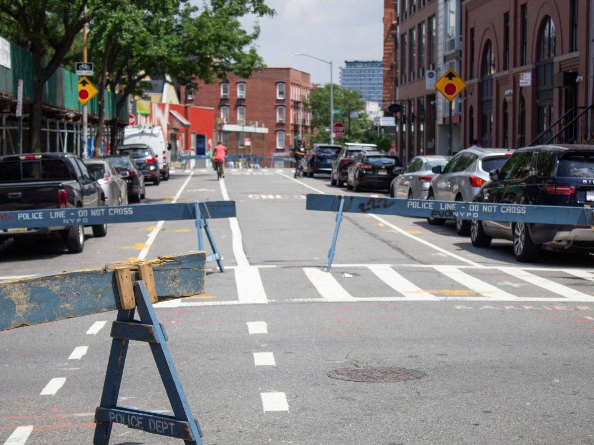 Barriers along Berry Street