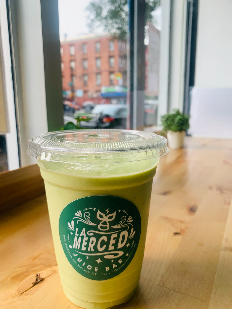 La Mercad's rich and green avocado smoothie.