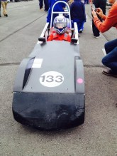 Lydia stops for photo opportunity at free practice GreenpowerMerryfield heat