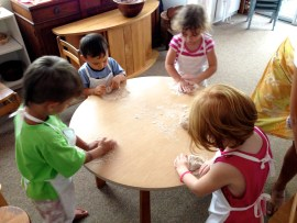 Baking bread at The Green Preschool in Kailua