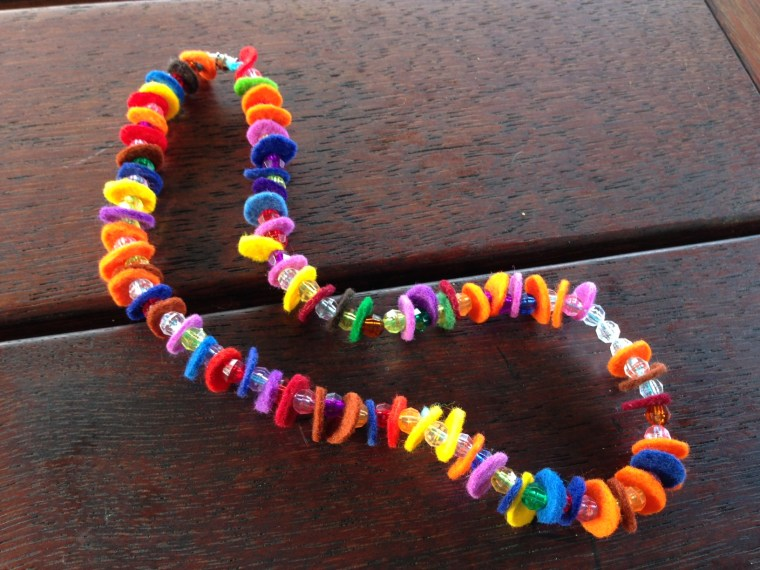 Felt and bead necklace