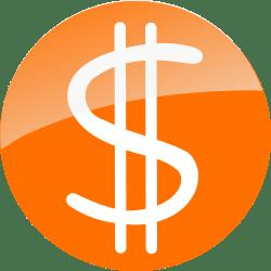 Hand-written Dollar Sign on Orange Circle