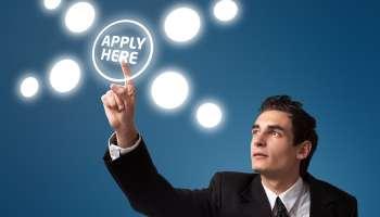 Man Touching Virtual Apply Here Button