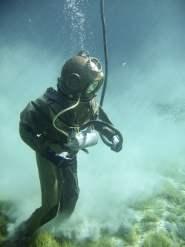 Metal Helmet Diver at Seafloor