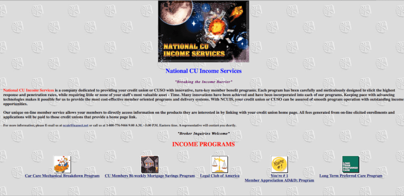 National CU Income Services Website - 1996