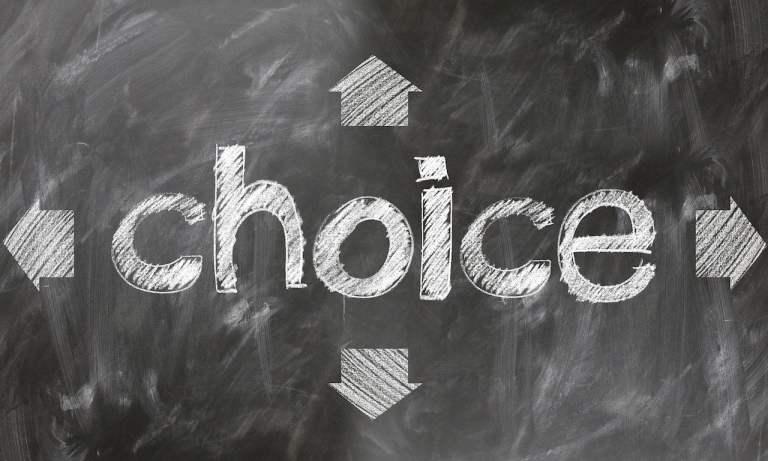 Choice Written on Chalkboard