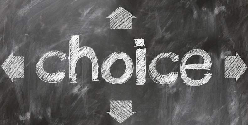 Choice Written on Chalkboard
