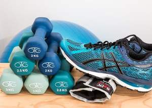 Dumbbells and Running Shoe