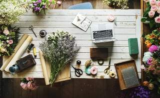 Floral Business with Laptop