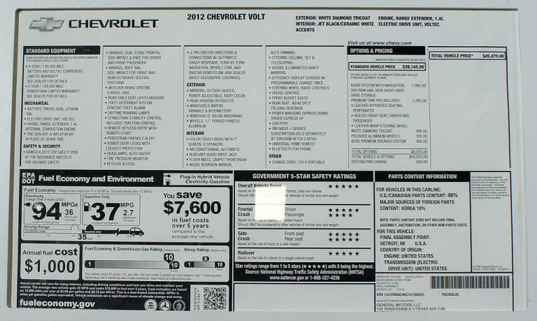 Chevy Volt Monroney Label Window Sticker