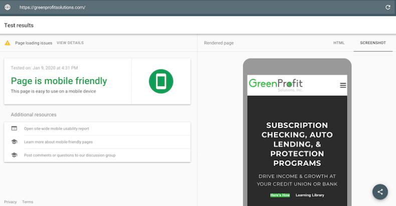 Google Mobile Friendly Site Test - GreenProfit