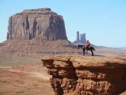 Cowboy on Horse at Monument Valley