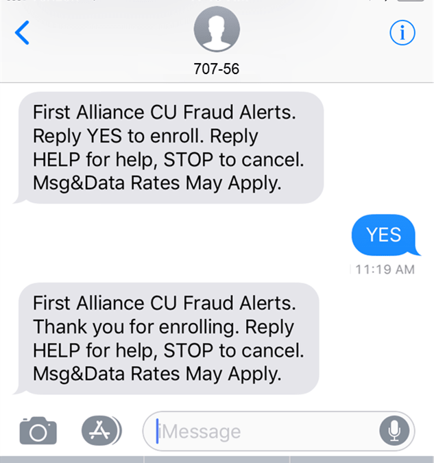 First Alliance CU SMS Sample