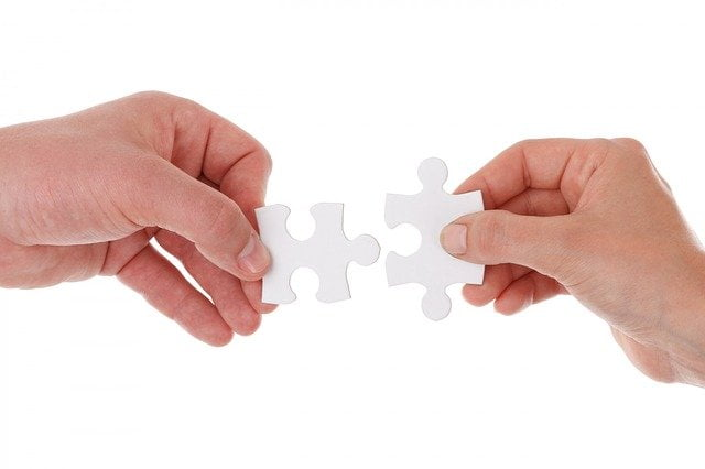 Two Hands Holding Puzzle Pieces