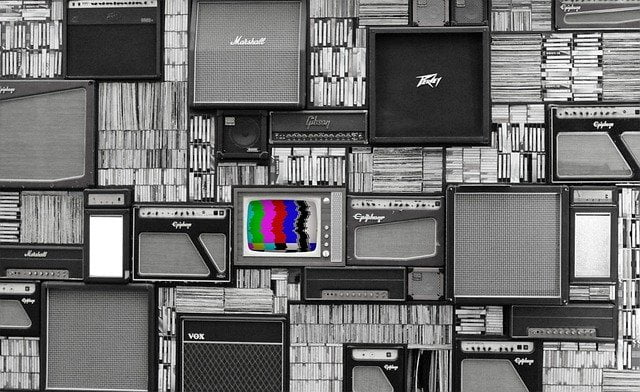 TV and Amps with Records