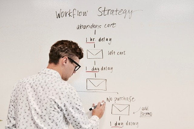 Man Writing Email Automation Workflow on Whiteboard