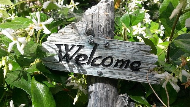 Welcome Wooden Sign in Plants