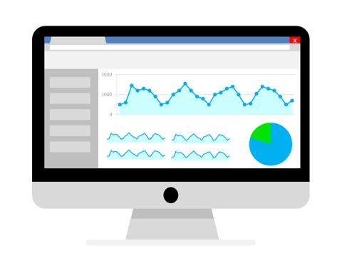Computer with Analytics Charts