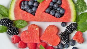 Watermelon and Blueberries in Hearts