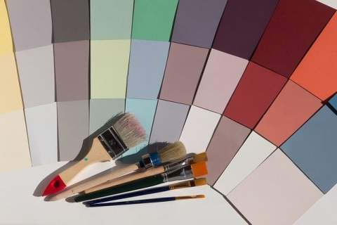 Paint Brushes and Color Swatches
