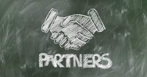Chalk Hands Shaking Partners