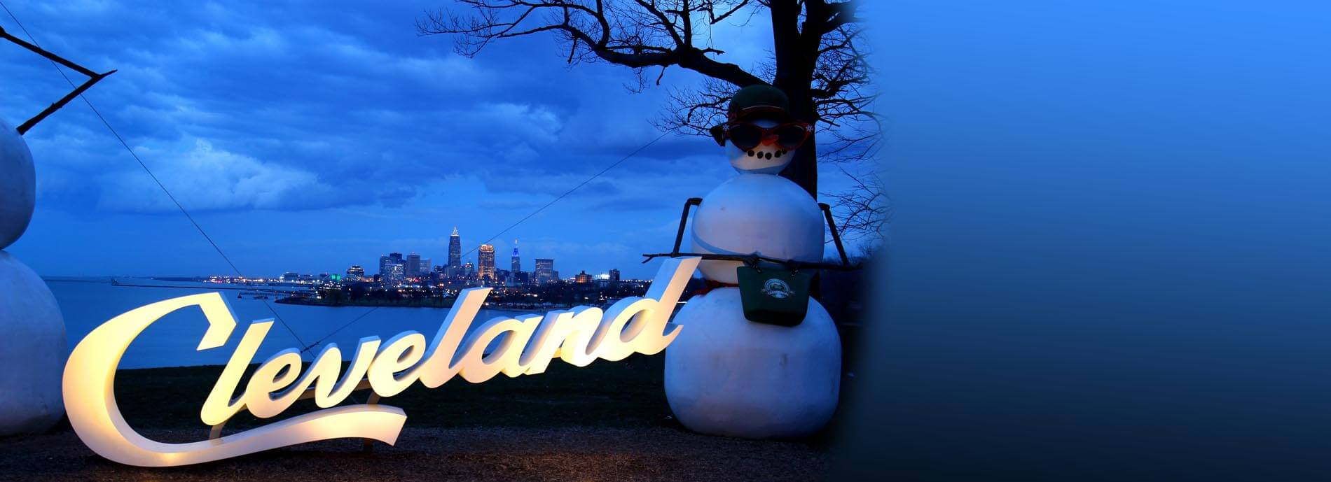 Green Ribbon Coalition Lake Erie Edgewater Beach Snowman and Cleveland Sign