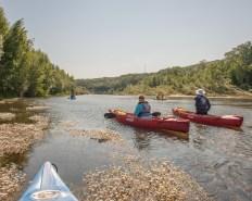 Vonda & Ed in the canoes they built on the Gardon river, Collias, Gard, France