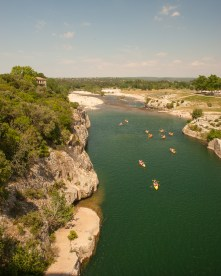 The Gardon river from the Pont du Gard aquaduct, Gard, France