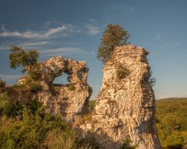 Rock formations in the village of Montfort beside the Dordogne river, Perigord, France