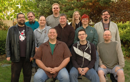 Green Ronin's staff photo, taken at our 2011 GR Summit in Seattle. Back row: Bill Bodden, Marc Schmalz, Intern Kate; Middle row: Chris Pramas, Rich Redman, Hal Mangold, Nicole Lindroos, Will Hindmarch; Front row: Jon Leitheusser, Steve Kenson, Evan Sass; Not pictured (since we hadn't hired him yet): Joe Carriker.
