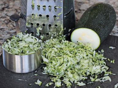 Shredded Zucchini for Vegan Brownies