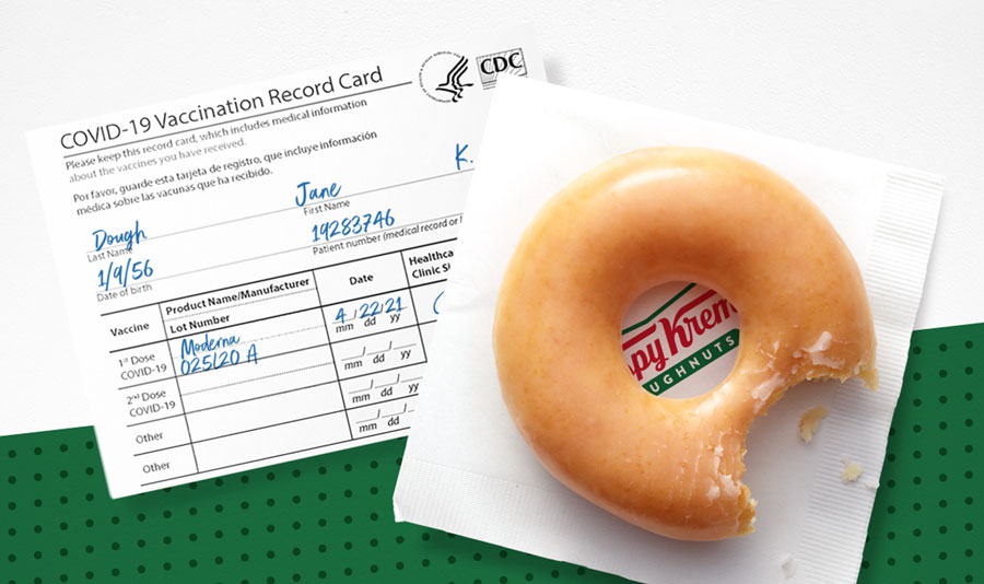 Krispy Kreme offering a daily free donut for a year with a COVID-19 vaccination card