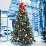 Commercial Christmas Tree Red White And Silver 16 Feet Tall Greenscape Design Decor