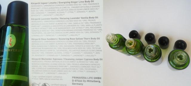 primavera Körperöl INCI ingedients