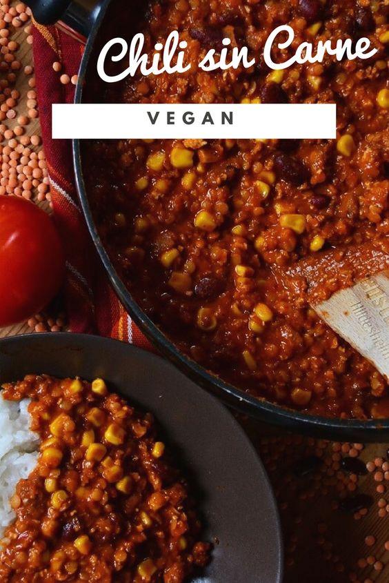 Chili sin Carne vegan mit Linsen