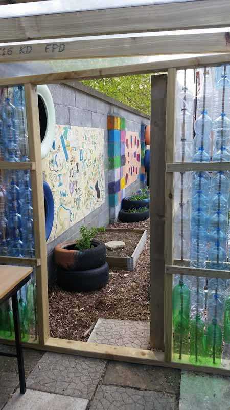 Gleann na Bearu Community Garden Plastic Bottle Greenhouse