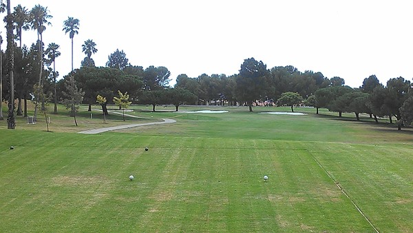 Los Verdes Golf Club Rancho Palos Verdes California Hole 1 Tee Box. Great par 5 dogleg left to elevated green.