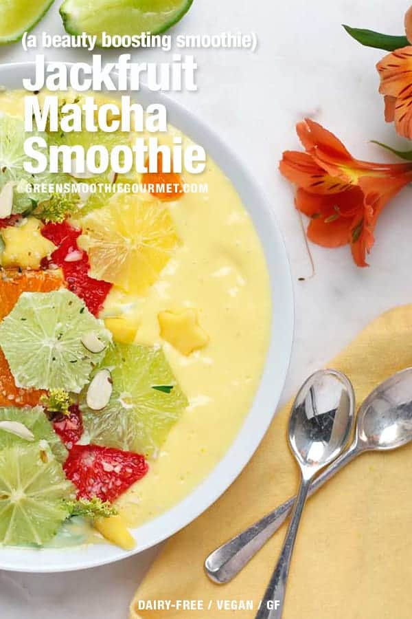 Matcha smoothie bowl with a orange jackfruit smoothie side and sliced citrus on top.
