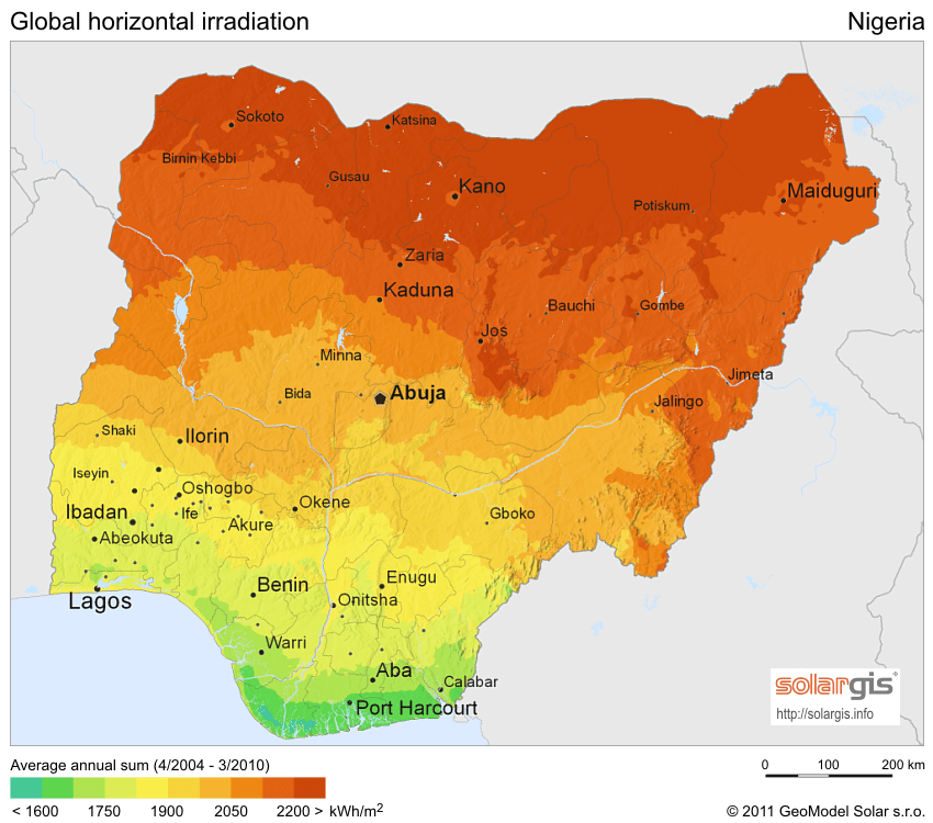 Irradiation Map of Nigeria showing Solar Energy Potential