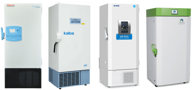 Four -80 degree freezers that use sustainable refrigerants
