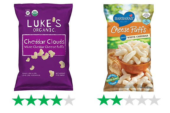 Luke's Organic Cheddar Clouds, rated 4/5 Green Stars, and Barbara's Cheese Puffs, rated 2/5 Green Stars.