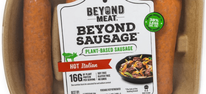 A package of four Beyond Meat sausages (hot Italian variety)